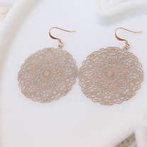 Blush Pink Brass Doily Cutout Earrings
