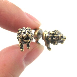 3D Fake Gauge Realistic Lion Animal Stud Earrings in Bronze
