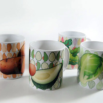 Set of 4 Veggie Mugs