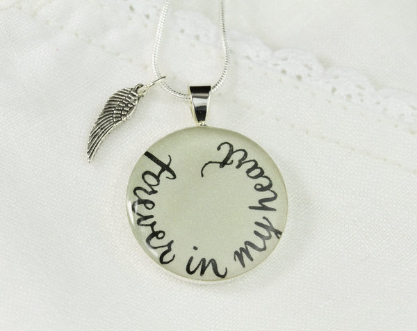 Forever in my heart remembrance necklace with angel wing forever in my heart remembrance necklace with angel wing miscarriage necklace unique memory jewelry handmade iridescent white bliss in art online aloadofball Images