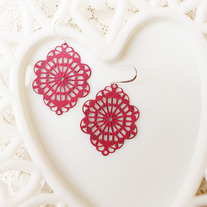 Fuchsia Brass Cutout Earrings