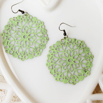 Oversized Lime Green Brass Round Cutout Dangle Earrings
