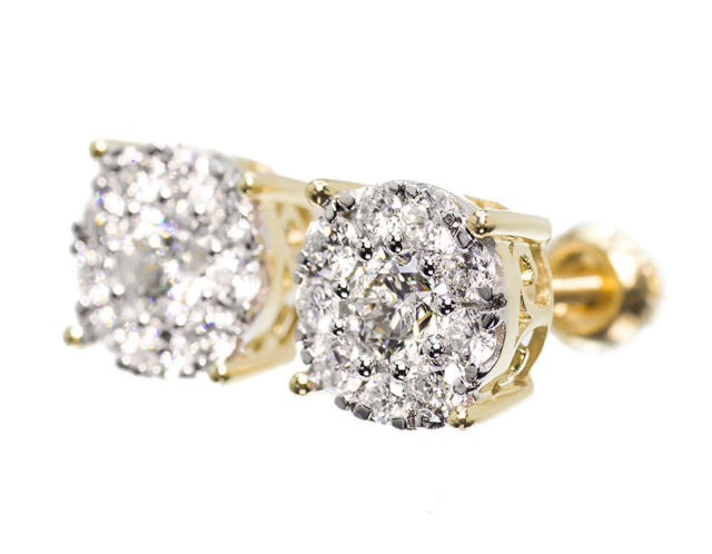 Men La s 14K Yellow Gold Solitaire Look Diamond 9 MM Studs