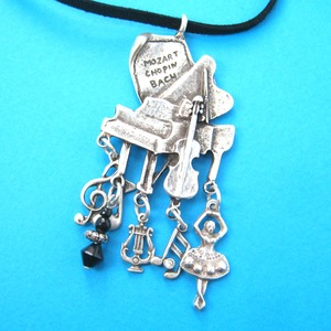 Grand Piano and Musical Notes Themed Ballerina Charm Necklace in Silver
