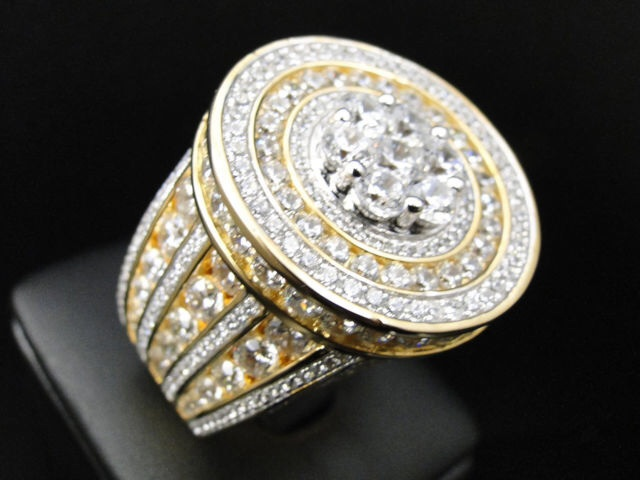 Mens Iced Out 3d Solitaire Style XL Simulated Lab Diamond Pinky Ring · DFINE