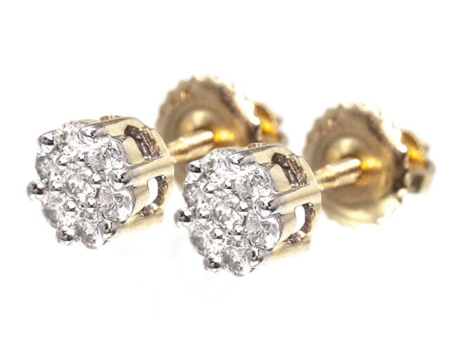 14k Yellow Gold Mens La s Round Diamond Flower Cluster Studs