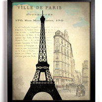 Image of Paris France Eiffel Tower Ephemera Antique Illustration 8 x 10