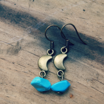 la luna. turquoise and moon charm earrings
