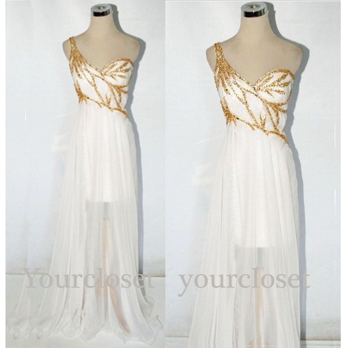 ... chiffon long golder sequins prom dress, graduation dress, party dress