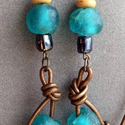 Katherine-bronze leather with african trade bead earrings