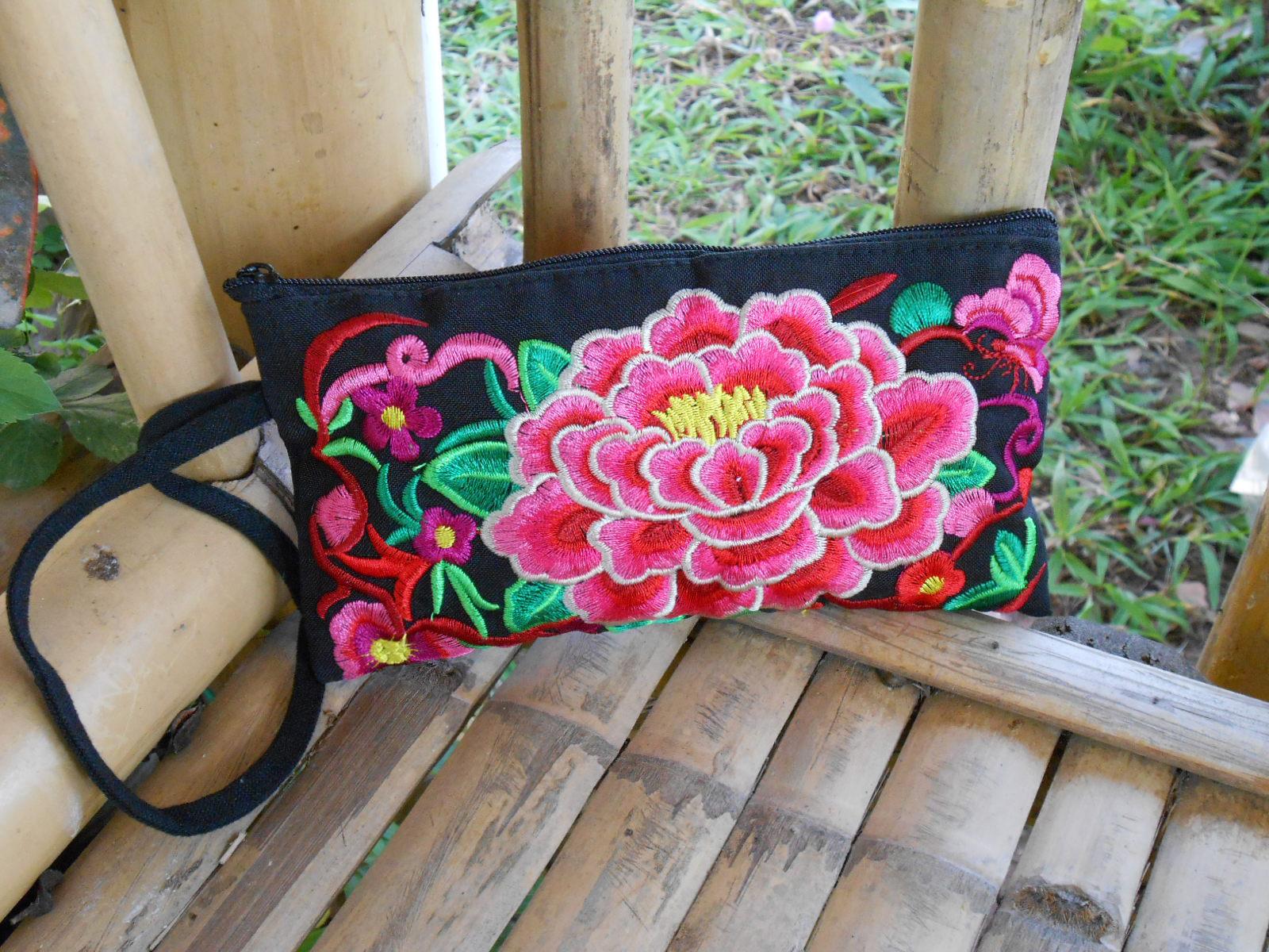 Pink Peony Flower Zipper Wristlet Clutch Wallet Purse Embroidered