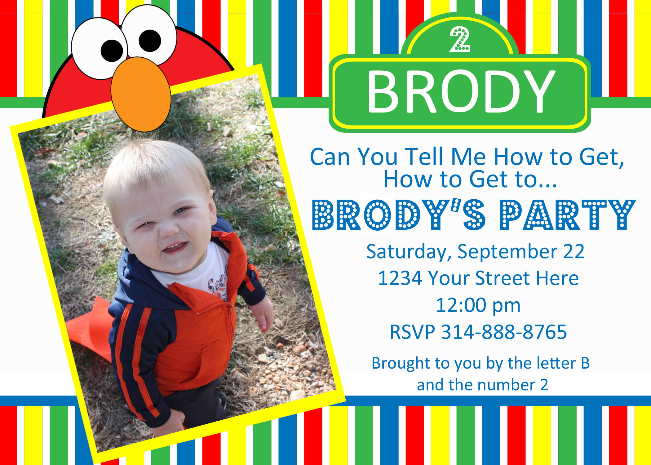 Elmo Sesame Street Birthday Invite