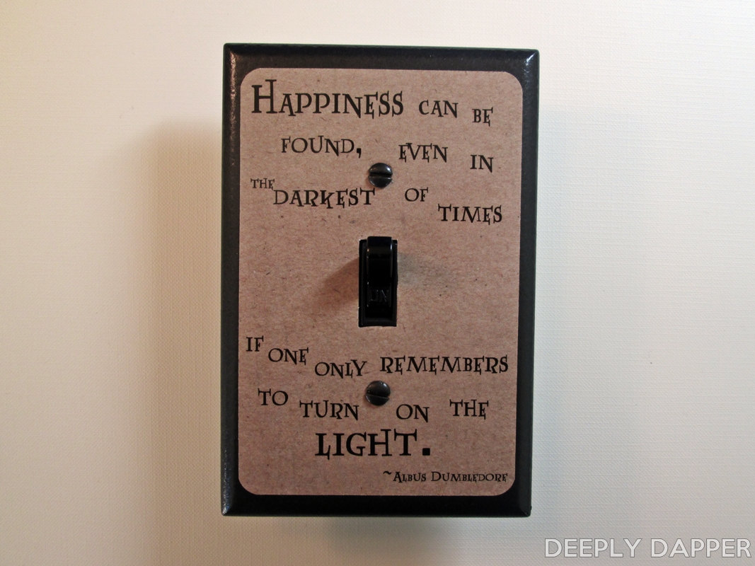 Silver Light Switch Covers Dumbledore Quote Happiness Can Be Found Parchment Version Harry
