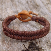 Brown Hemp and Henna Leather Bracelet