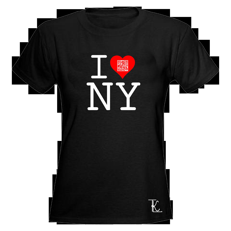 Tkl custom prints and apparel women 39 s black i love new for Custom tee shirts nyc
