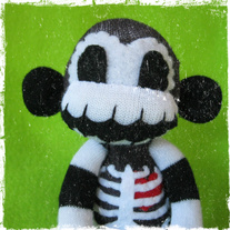 Baby Skeleton Sock Monkey Doll
