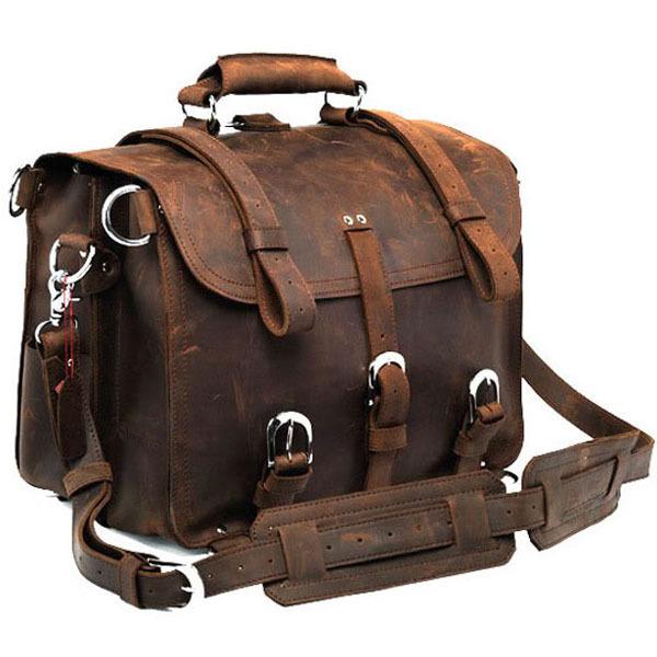 Classical Vintage Distressed Leather Briefcase Handbag/Backpack ...