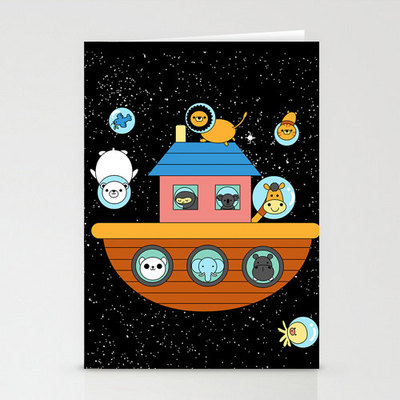 Noah's space ark 3-pack greeting cards,  matching envelopes included