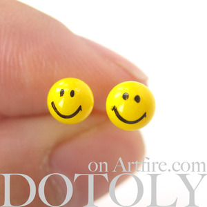 Bright Yellow Smiley Face Stud Earrings Non Allergenic Plastic Post