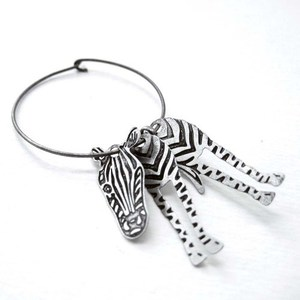 3D Zebra Animal Hoop Dangle Earrings in Silver