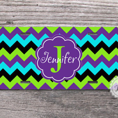 Customized License Plate Bright Mixed Chevron With Cute Lavender Monogram Fancy Car Plate Personalized Car Tag From Nestgiftco