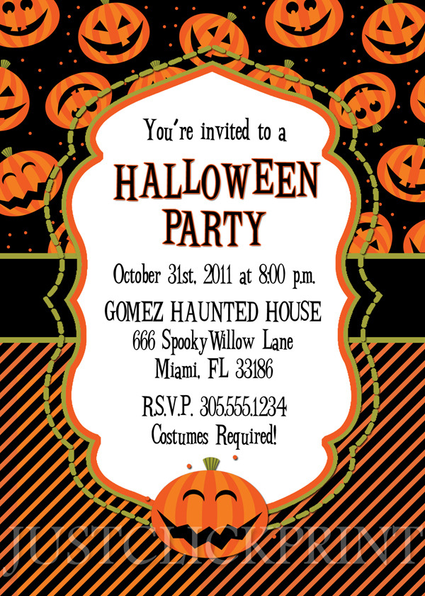 Happy Pumkins Halloween Party Invitation Printable Just Click – Halloween Birthday Invitation Wording