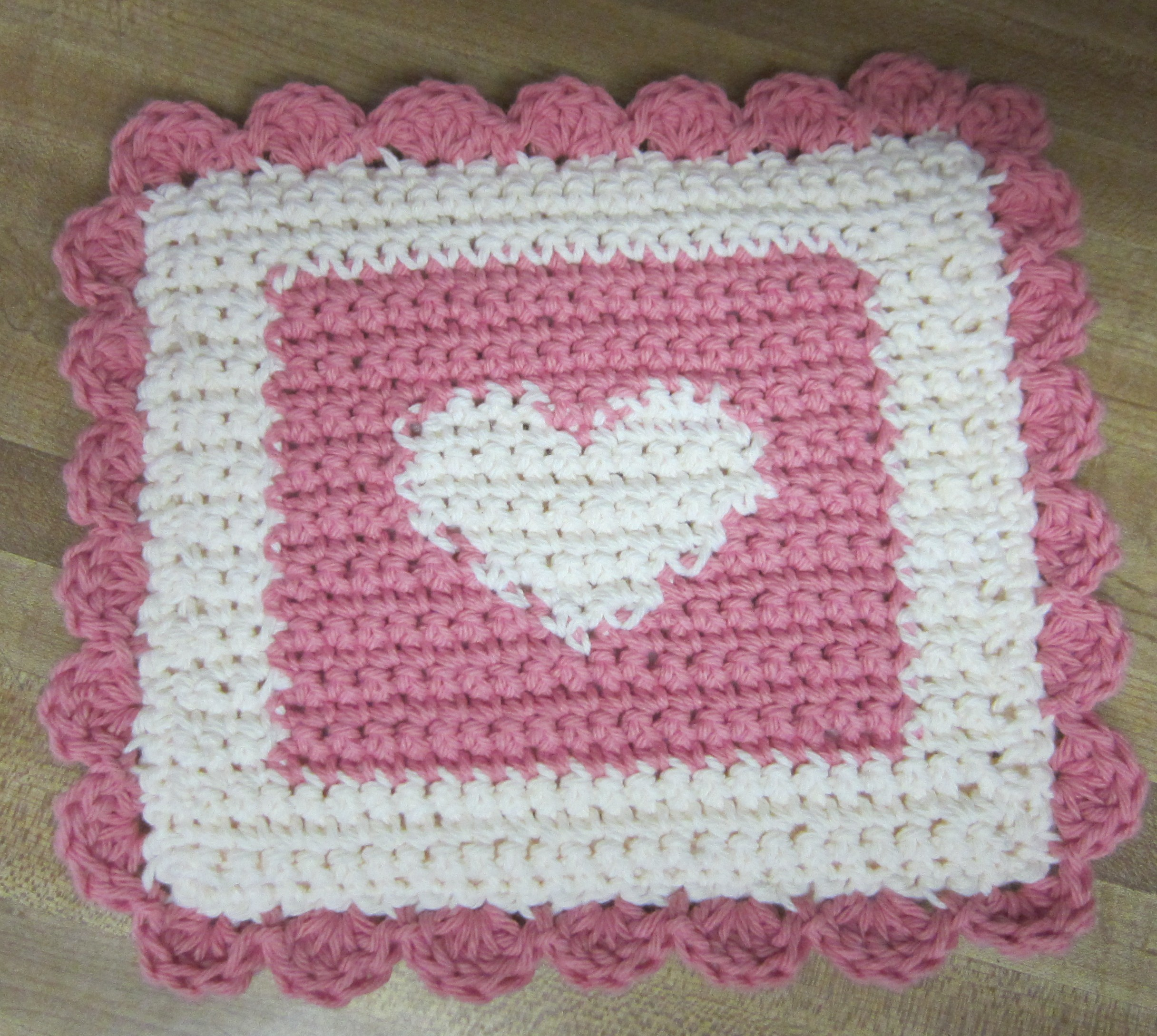 Crochet Potholders/Hot Pads Double Thickness Set of 2 Pink and White ...
