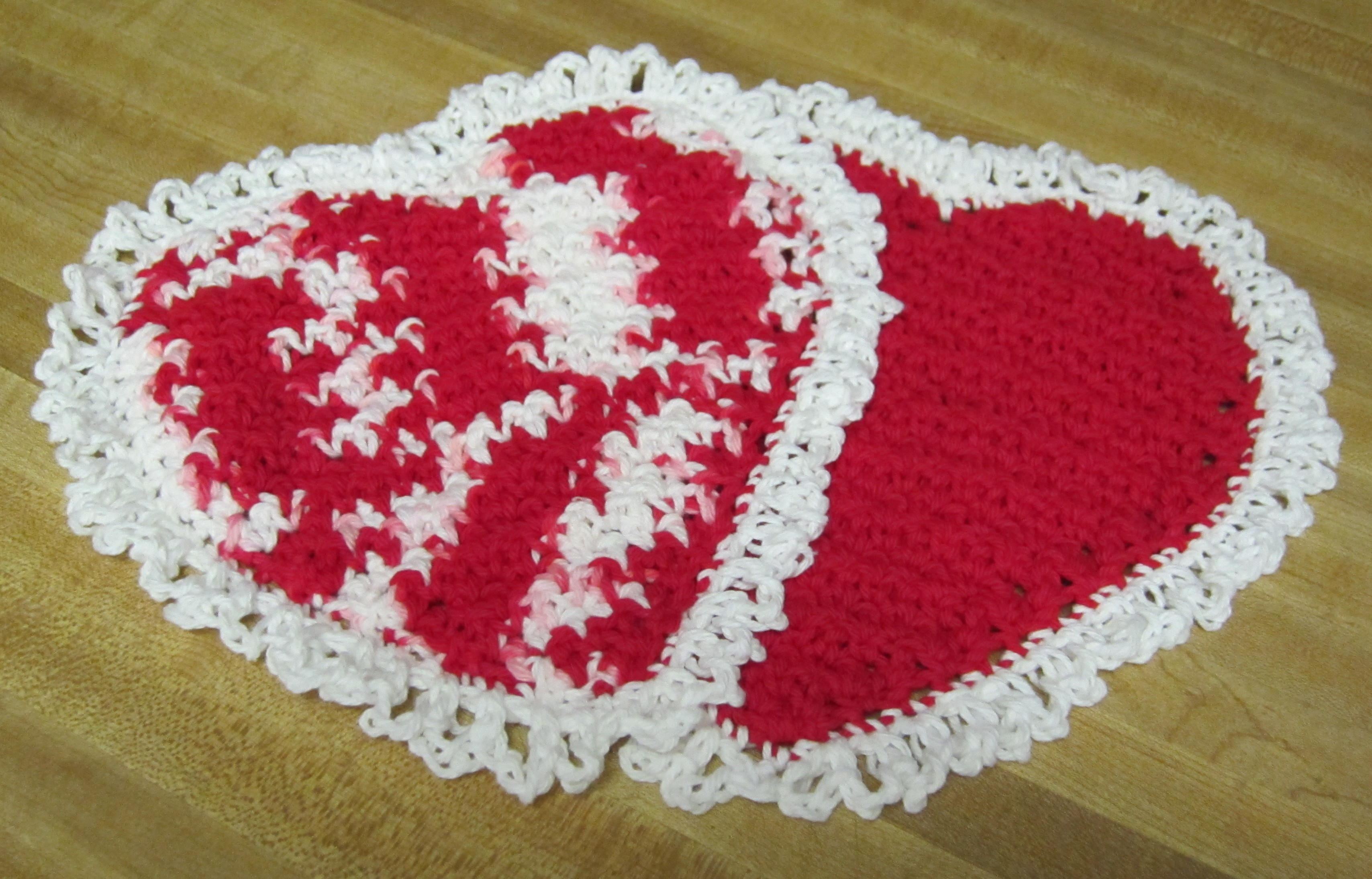 Crochet Dishcloth/Washcloth Heart Shaped in Red and White ...