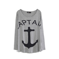 Grey Anchor Print Loose T-shirt
