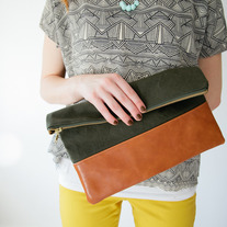 Army green + leather clutch - Limited stock