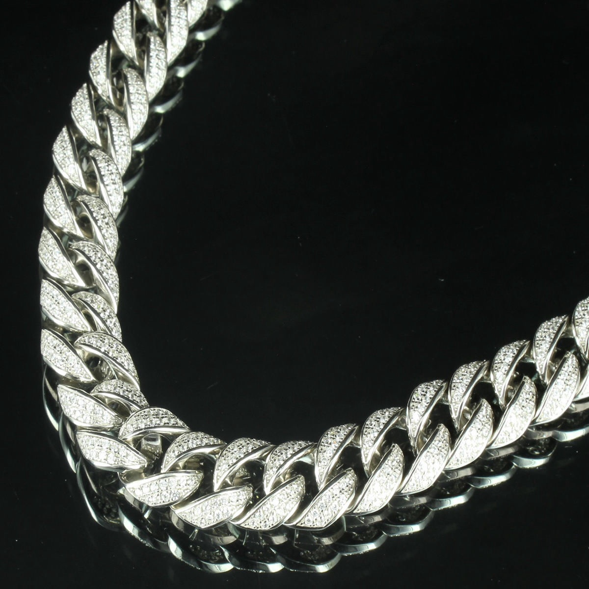 mens link chain round necklace cuban