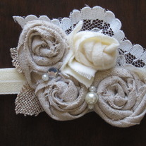 Ivory and Taupe Rosettes headband