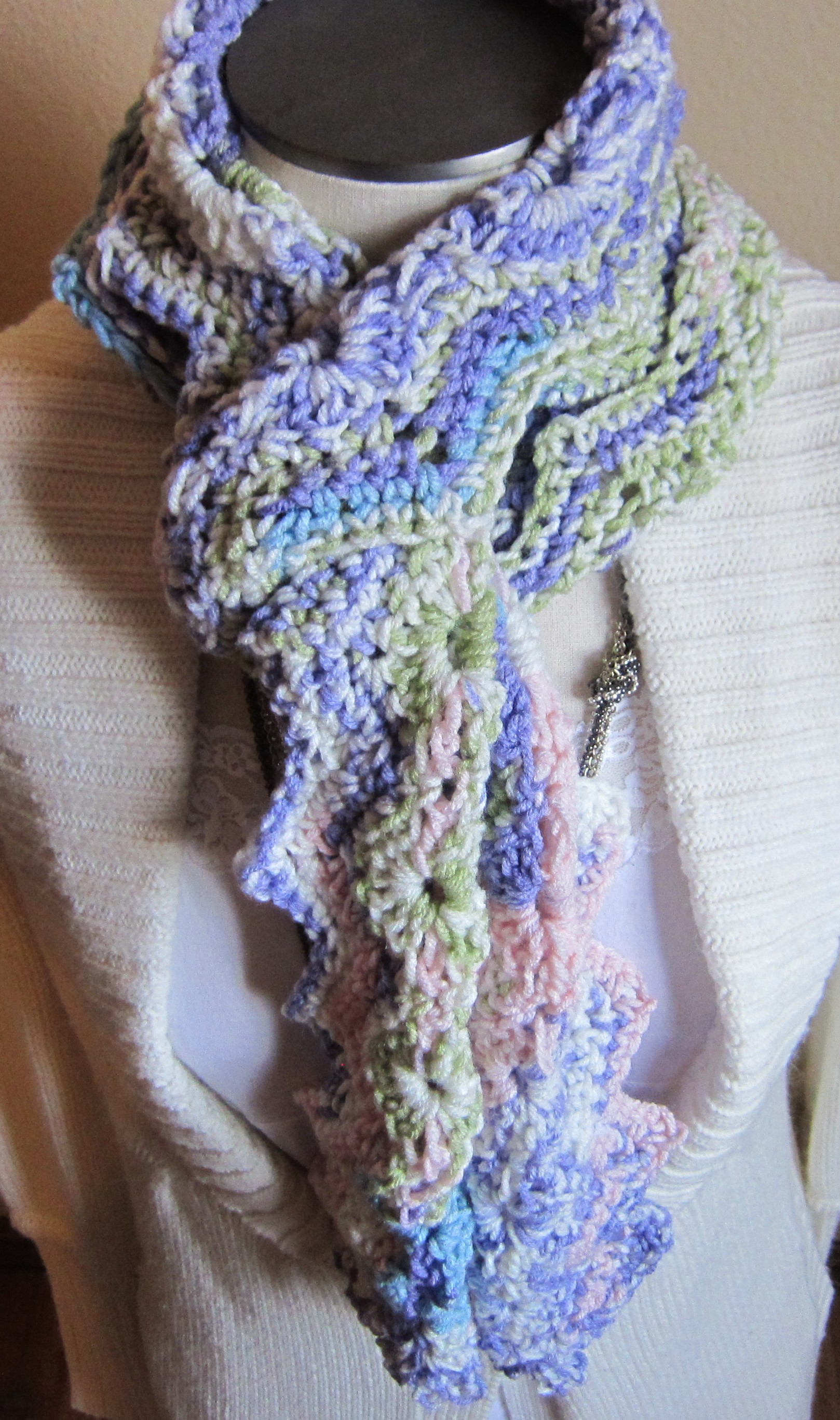 Crochet Hat and Scarf Multi Color in Pastels Very Feminine ...