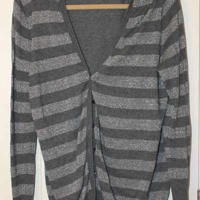 Old navy striped cardigan, gray and silver- large