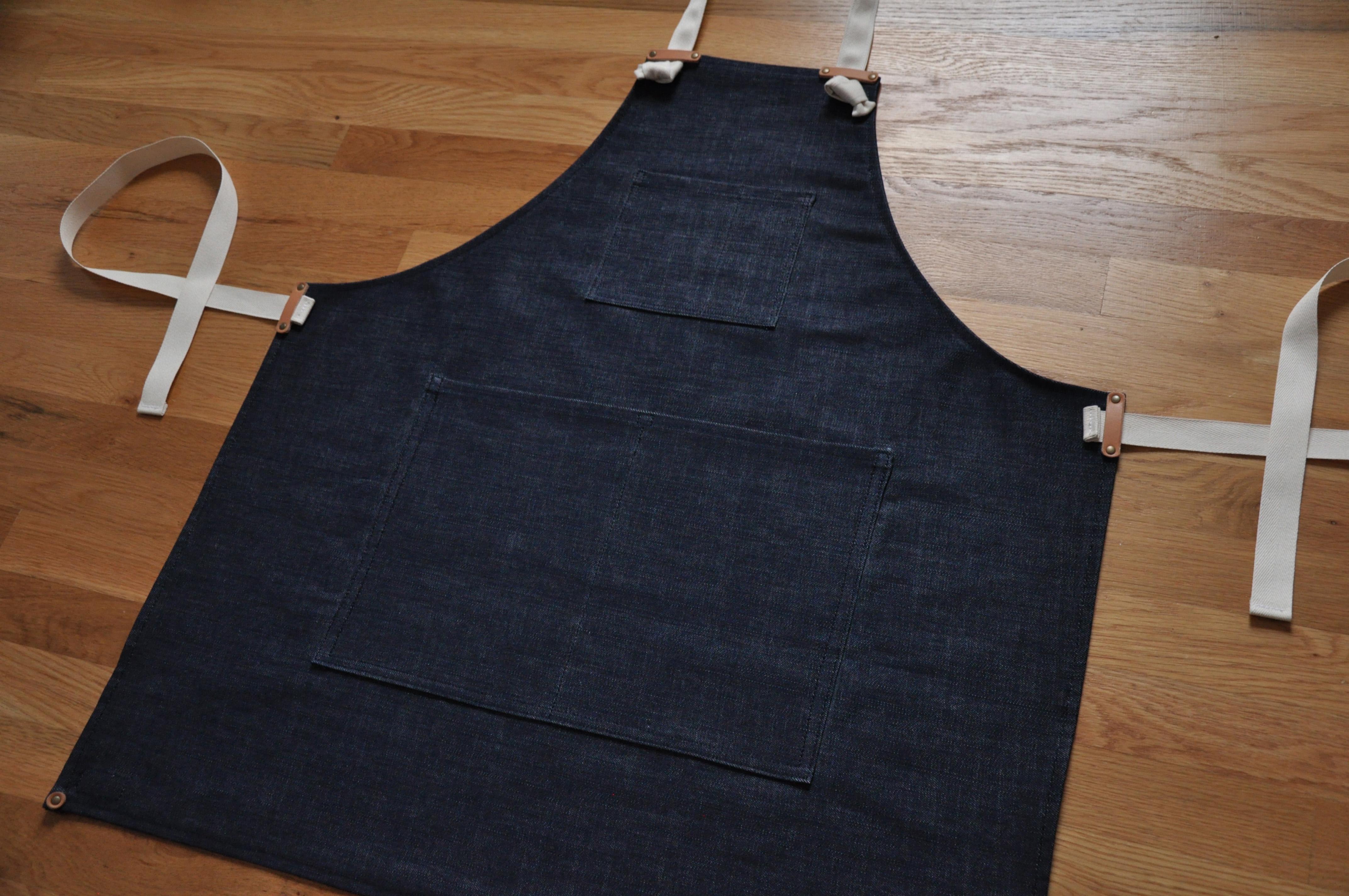 White denim apron -  Apron Indigo Denim Thumbnail 2