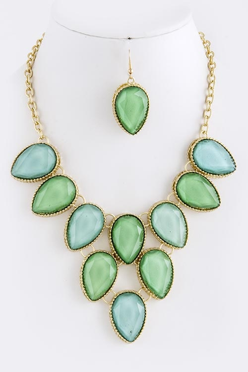 Kiran Jewels Jewelry Set - Jade & Pearl - 3 Piece