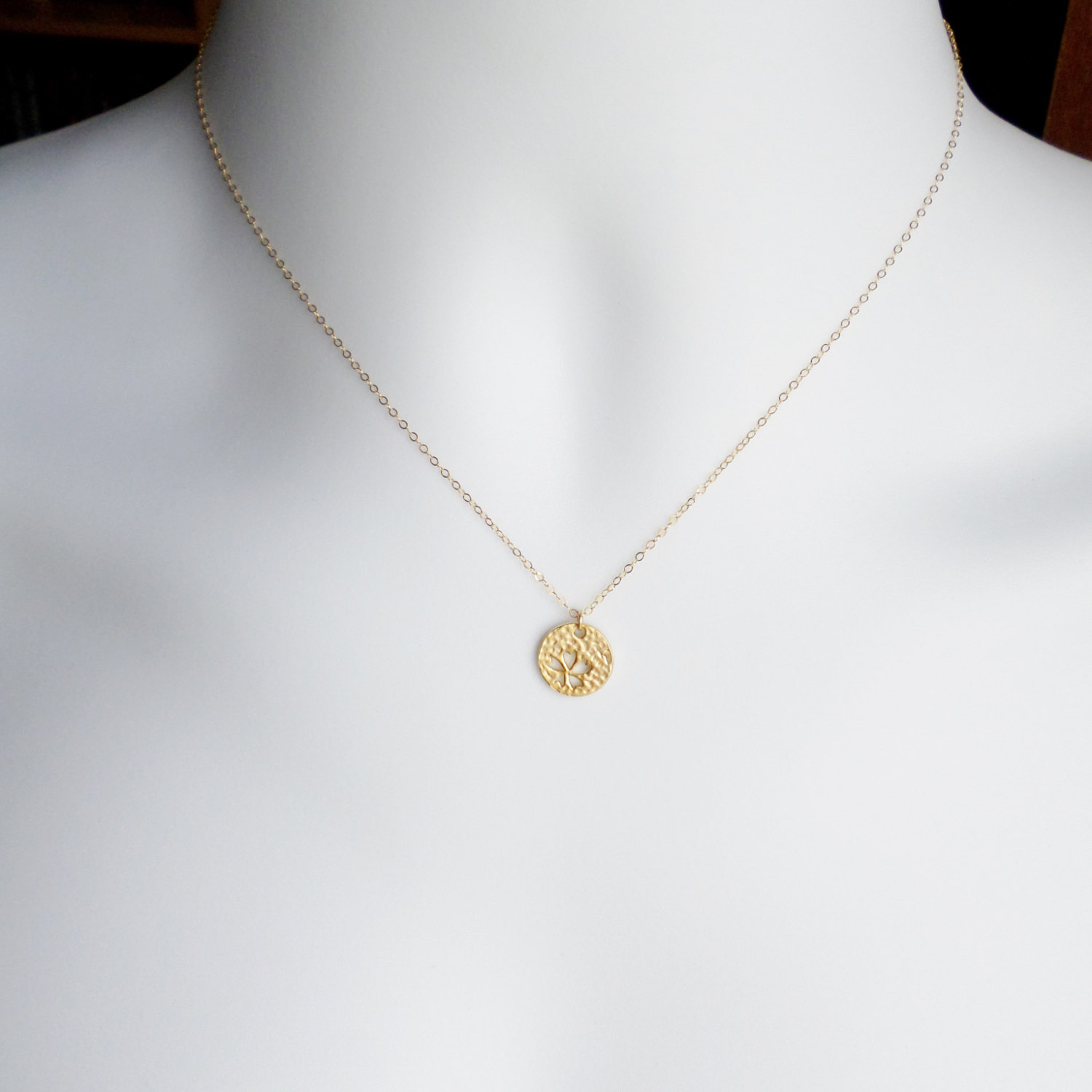 Gold disc necklace four leaf clover cutout disc charm necklace il fullxfull489613594 2lad small aloadofball Image collections