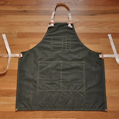 Apron - olive waxed canvas