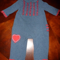 STARTING OUT DENIM/RED ROMPER-SIZE 12 MONTHS