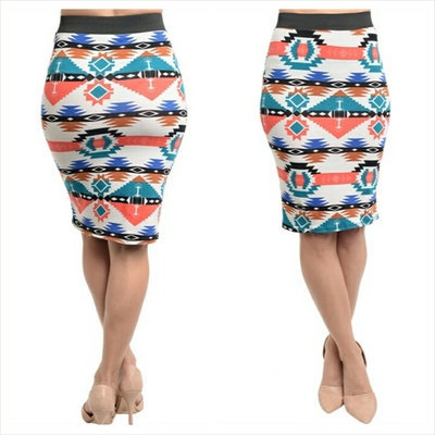 White coral teal skirt