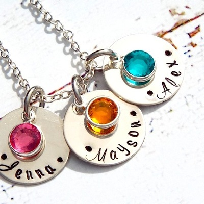 925 sterling silver hand stamped personalized 3 charm disc name mom necklace