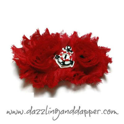 Red Anchor Flower Clip