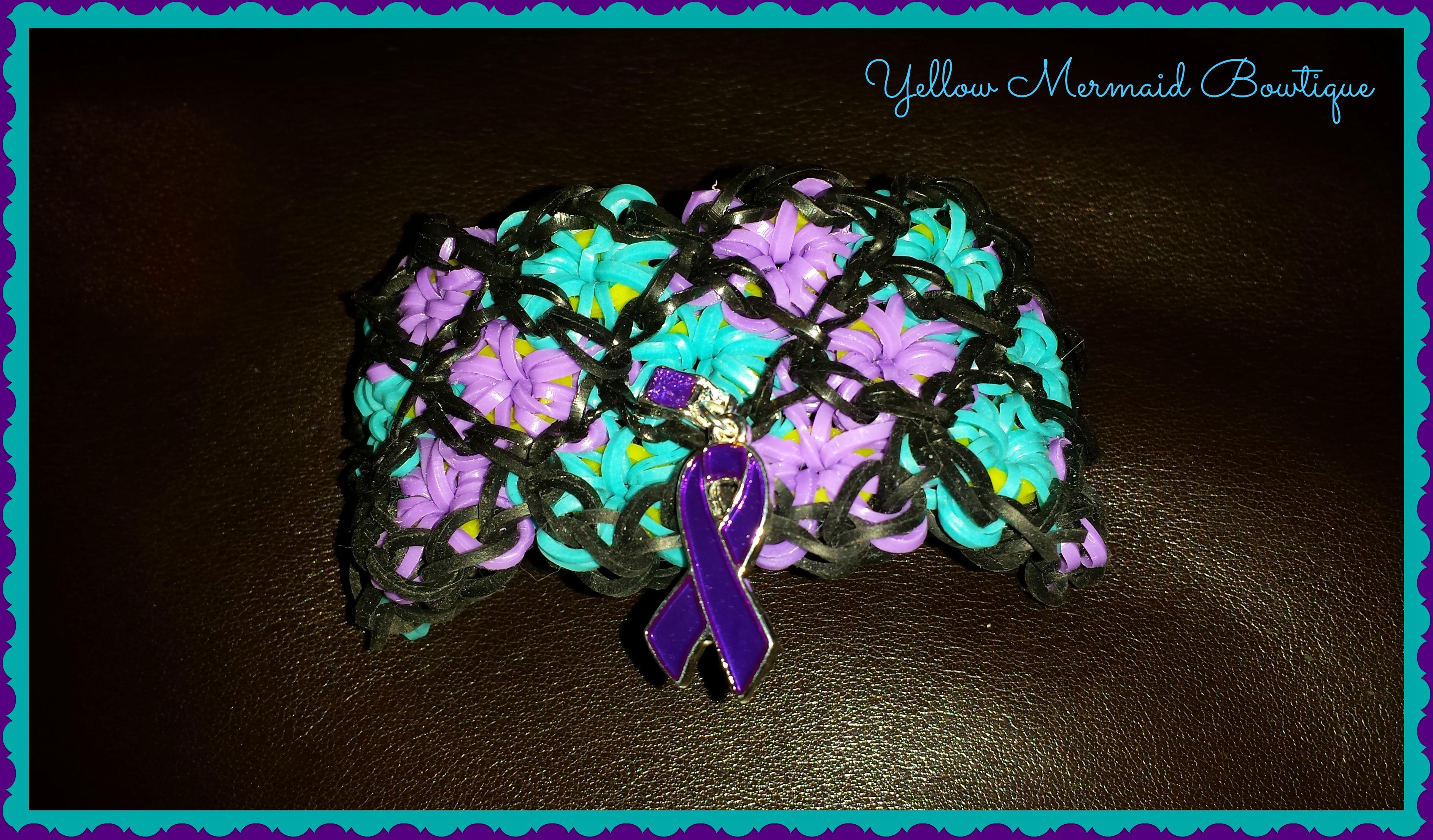 Chiari Awareness Stained Glass Loom Bracelet Syringomyelia Awareness