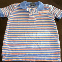 POLO RALPH LAUREN BLUE/YELLOW/ORANGE STRIPE SHIRT SIZE 4