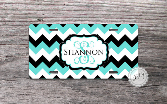 Personalized License Plate Stylish Monogram On Tiffany Blue And Black Chevron Custom Front Car Plate Vanity Car Tag From Nestgiftco