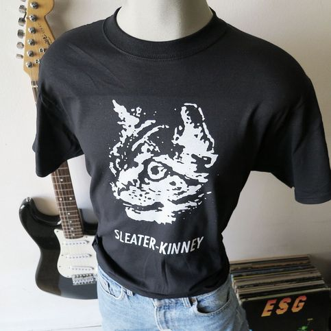 Sleater kinney t shirt screen print short sleeve black for Vintage screen print t shirts
