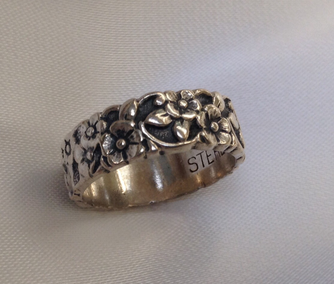 Floral Bands: Antique Sterling Silver Floral Band Ring Size 6 On Storenvy