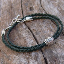 Braided Green Leather and Silver Wrap Bracelet