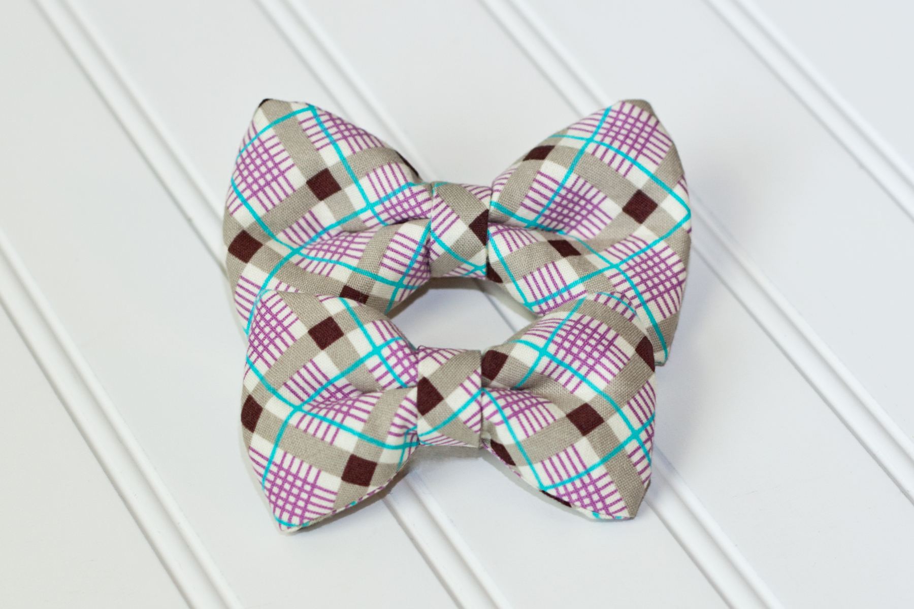 boy bow tie with elastic gray purple and teal plaid