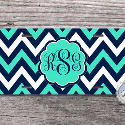 Monogrammed License Plate Turquoise Brown and Yellow